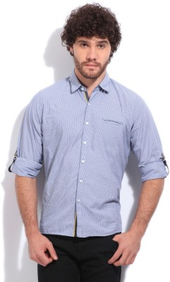 Pepe Jeans Men's Striped Casual White, Blue Shirt