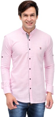 Nexq Men's Solid Casual Linen Pink Shirt