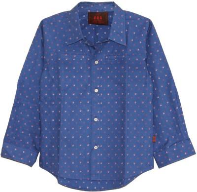 My Little Lambs Boy's Polka Print Casual Dark Blue Shirt