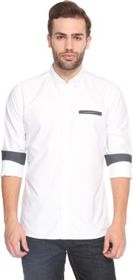 883 Police Men's Solid Casual White Shirt