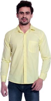 Calibro Men's Solid Casual Yellow Shirt