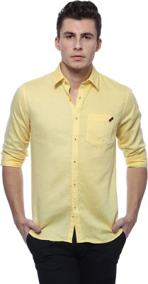Derby Jeans Community Men's Solid Casual Yellow Shirt