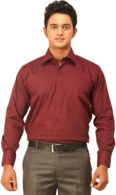 Seven Days Men's Self Design Formal Maroon Shirt