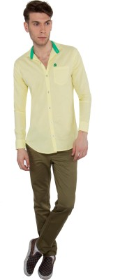 Nine Club Men's Solid Casual Yellow Shirt