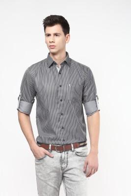 Remo Men's Striped Casual Black Shirt
