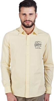American Swan Men's Solid Casual Yellow Shirt