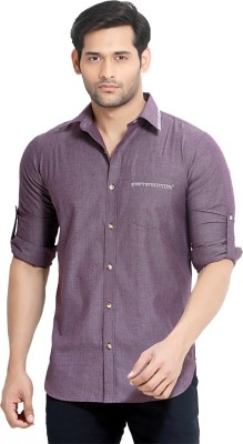 London Bee Men's Solid Casual Purple Shirt