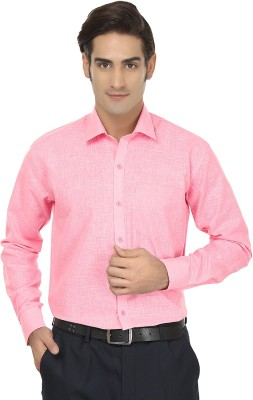 Jainish Men's Solid Formal Pink Shirt