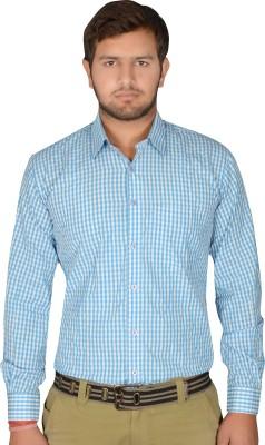 Drishtee Men's Checkered Casual Light Blue Shirt