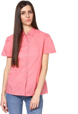 SHIBORI Women's Solid Casual Pink Shirt