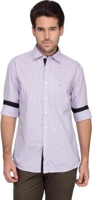 Denimlab Men's Checkered Casual Purple Shirt