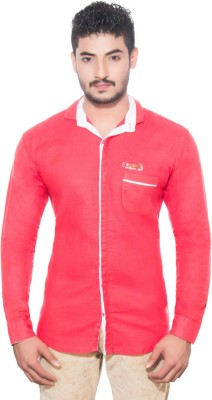 Goodkarma Men's Self Design Casual Red Shirt