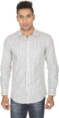 SmartCasuals Men's Striped Casual White, Blue Shirt