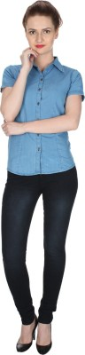 TwiQ S.A. Garments Women,s, Girl's Solid Casual, Formal Reversible Denim Blue Shirt