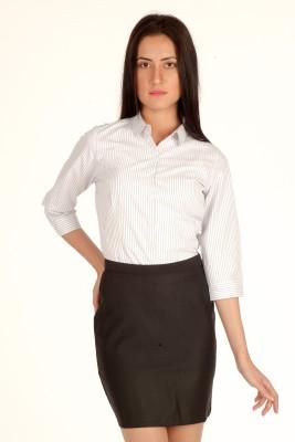 Bombay High Women's Striped Formal Grey Shirt