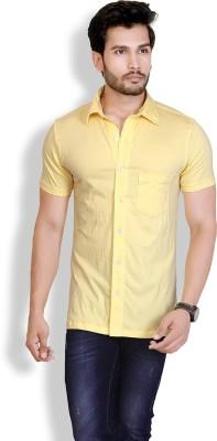 LUCfashion Men's Solid Casual Yellow Shirt