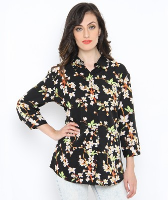 Philigree Women's Floral Print Casual Black, Green Shirt