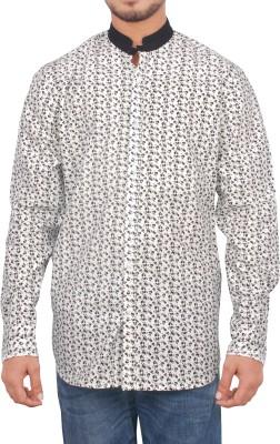 maclavaro Men's Printed Casual White Shirt