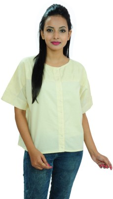 Goodwill Impex Women's Self Design Casual Beige Shirt