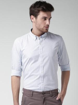 Mast & Harbour Men's Checkered Casual White Shirt