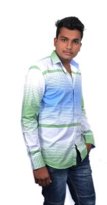 Falco Men's Striped Casual Green Shirt