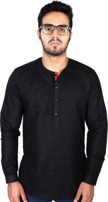 Just Differ Men's Solid Casual Black Shirt