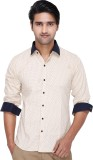 Kiez Men's Printed Casual Brown Shirt