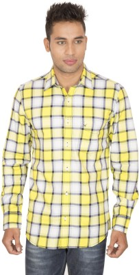 SmartCasuals Men's Checkered Casual Yellow Shirt