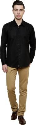 Flutter Men's Solid Casual Black Shirt
