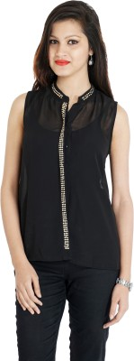 Franclo Women's Solid Formal Black Shirt