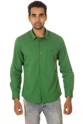 West Vogue Men's Solid Casual Green Shirt