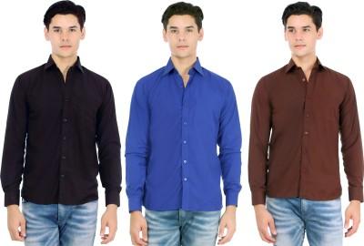 Atmosphere Men's Solid Casual Black, Dark Blue, Brown Shirt