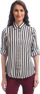 Uptownie Lite Women's Striped Casual Black Shirt