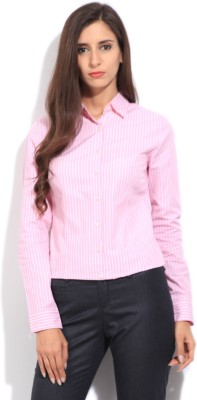 Arrow Women's Striped Formal White, Pink Shirt