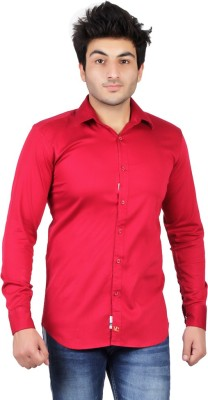 UNDERCUT Men's Self Design Casual Red Shirt