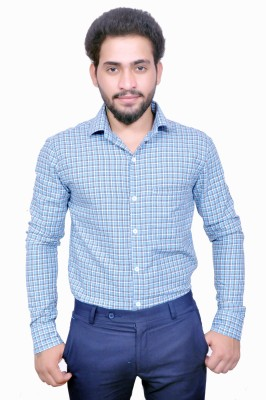Style In Men's Checkered Casual Blue Shirt