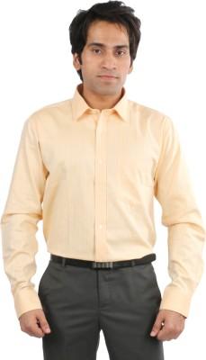 Desar Rana Men's Self Design Formal Orange Shirt