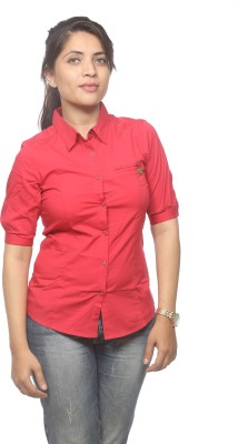 Spykar Women's Solid Casual Red Shirt