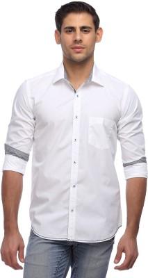Yellow Orange Men's Solid Casual White Shirt