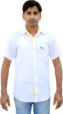 Mithu Men's Solid Casual White Shirt
