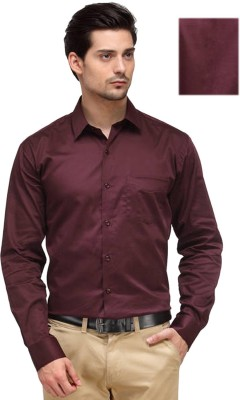 Rv Collection Men's Solid Formal Maroon Shirt