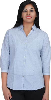 Estella Fashion Women's Checkered Casual Blue, White Shirt