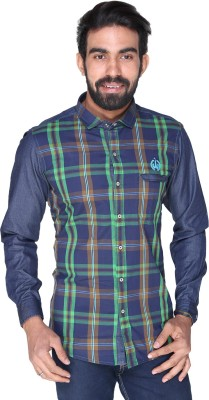 Royal Front Men's Checkered Formal, Casual, Party, Festive, Wedding Green Shirt