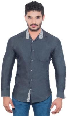 Goodkarma Men's Self Design Casual Grey Shirt