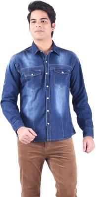 Passport Men's Self Design Casual Blue Shirt