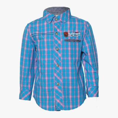 Tales & Stories Boy's Checkered Casual Blue Shirt