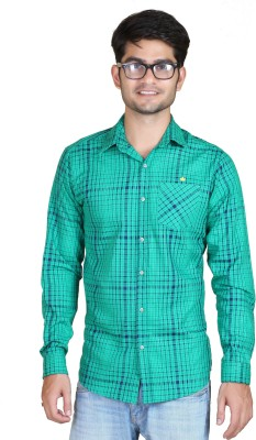 Playfox Men's Checkered Casual Dark Green Shirt