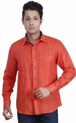 Nanya Men's Solid Casual Linen Orange Shirt