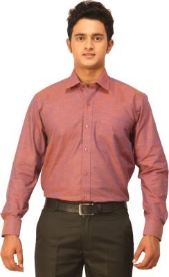 Seven Days Men's Self Design Formal Orange Shirt