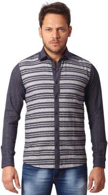 YOO Men's Striped Casual Grey Shirt
